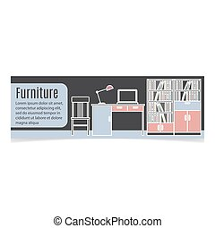 Furniture horizontal banner with table and bookshelf. Vector...