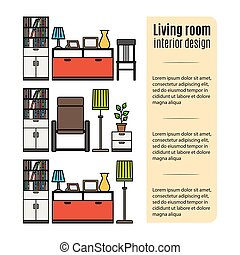 Furniture for living room infographic - Infographic design...