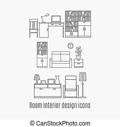 Line art room interior icons set