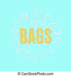 Bags line icons in circle shape - Bags white line art icons...