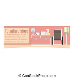 Furniture horizontal banner with white contour and pink...