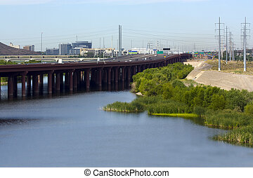 City of Tempe, AZ - Highway bridge on Loop-202 running...