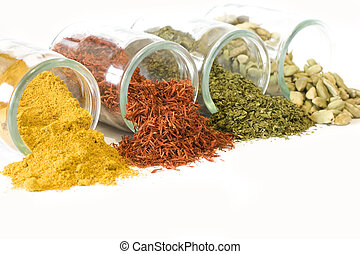 Coloful spices in jars