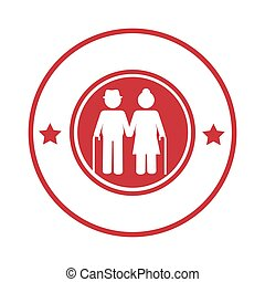 circular border with pictogram elderly couple with walking...