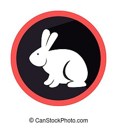 circular shape with silhouette rabbit with long ears vector...