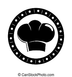 monochrome circular border with silhouette chefs hat vector...