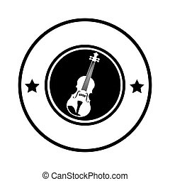silhouette circular border with acoustic guitar musical