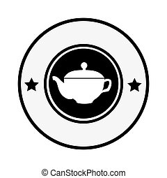 monochrome circular border with silhouette with tea kettle...