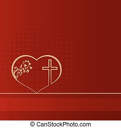 red design with heart and cross