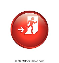 Emergency exit sign icon vector illustration graphic design