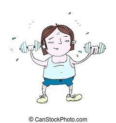 A cartoon man strains to lift weights and build his muscles.