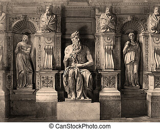 Vintage Photo  Moses by Michelangelo in San Pietro in Vincoli, Rome,Italy  1890