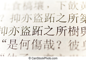 Confucius - close up of chinese characters