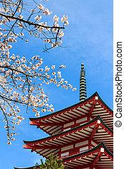 pagoda,  pagoda,  chureito, rojo, o