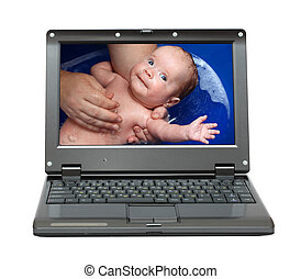 laptop with bathing baby - small laptop with bathing baby on...