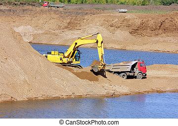 sandpit - excavator and tipper - sandpit - excavator dump...