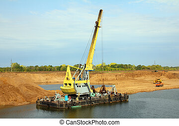 development sandpit with dredge - floating excavator -...