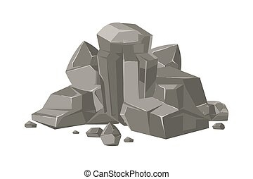 Stones and rocks cartoon vector nature boulder isolated on...