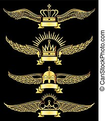 Golden vector wing crown and ribbon royal logo set