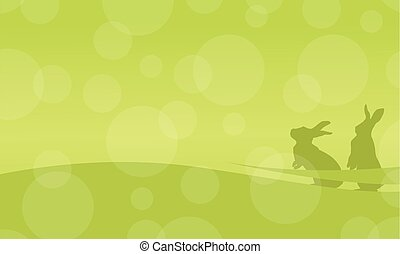 On green background bunny easter vector flat