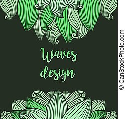 Green waves on dark background card - Green hand drawn waves...