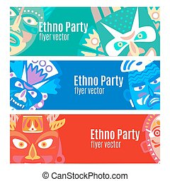 Ethno party flyers with masks - Ethno party flyers banners...