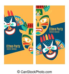 Yellow ethno party flyers with masks - Yellow ethno party...