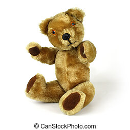 isolated teddy bear - Close-up of brown teddy bear isolated...