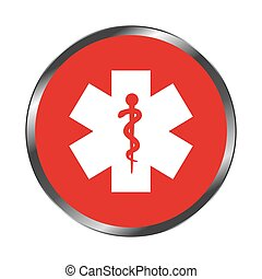 color circular emblem with symbol star of life vector...