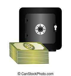 metal strong box with stacked banknote with dollar sign