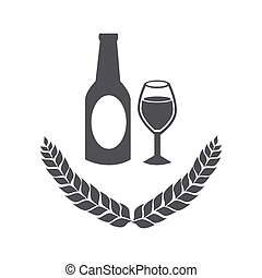 grayscale emblem of bottle and glass beer