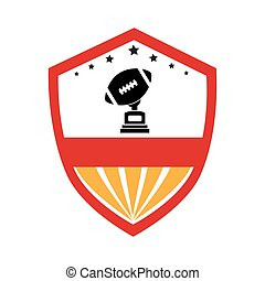 shield emblem with football ball and Trophy Cup