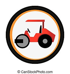 colorful circular emblem with road roller vector...