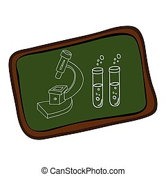 board with silhouette microscope and test tubes vector...