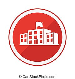 monochrome circular emblem with high school structure vector...