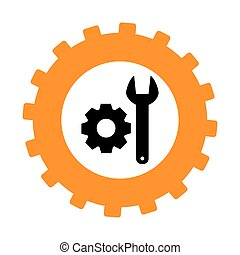 silhouette in shape of gear with wrench and pinion vector...