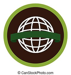 circular emblem with world eco sketch vector illustration