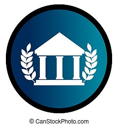 circular emblem with parthenon and olive branchs vector...