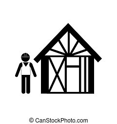 silhouette man buiding wooden house