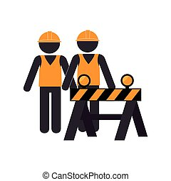 silhouette road construction and workers group vector...