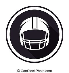 monochrome circular frame with american football helmet