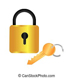 colorful square padlock with key