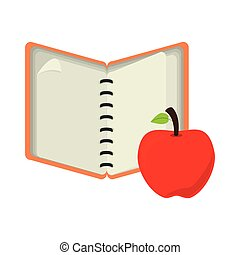 open notebook with apple fruit