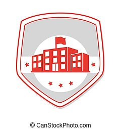 monochrome shield with high school structure vector...