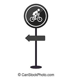 sihouette pole with road sign with ride bike symbol vector...