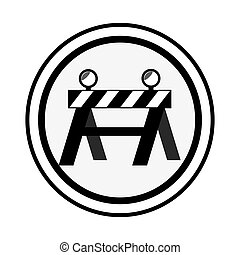 monochrome circular emblem with barrier closed road vector...
