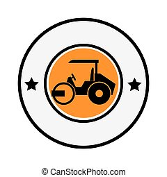 circular emblem with road roller vector illustration