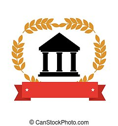 emblem with parthenon with olive branchs and ribbon vector...