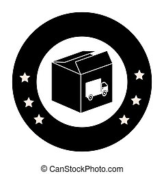 monochrome circular emblem with open packing box with truck stamp