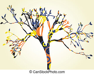 Single Psychedelic Tree Silhouette - Abstract colorful tree...